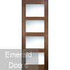 Walnut Shaker Clear Glazed Internal Door Fully Finished