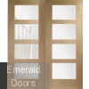 Oak Shaker 4L Clear Glazed French Doors