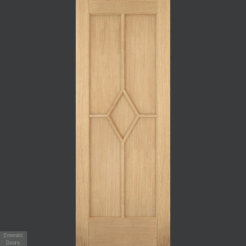 Oak Reims 5 Panel Fire Door Fully Finished