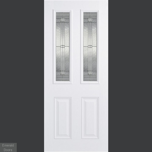GRP White Malton 2 Light Composite External Door