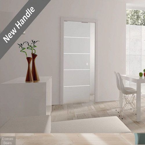 Single Satin Glass Pocket Door System