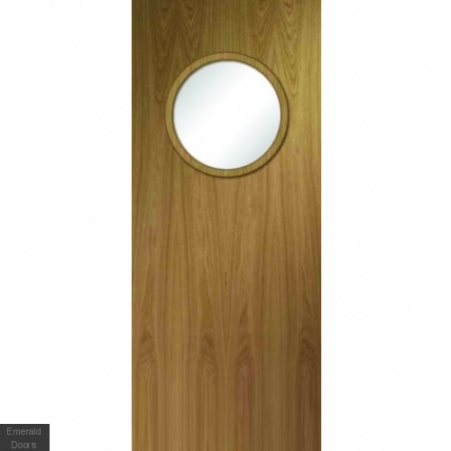 Porthole Oak Fire Door Custom Made FD30