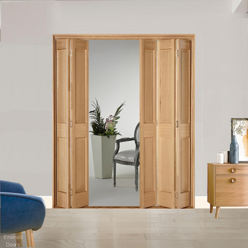 5 Leaf Oak Victorian 2 Panel Bi-Folding Set