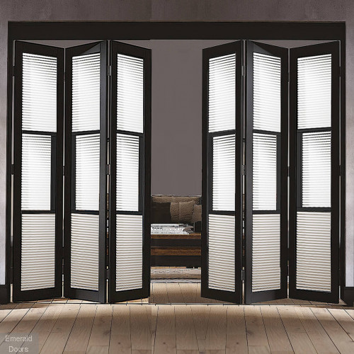 Black Tribeca 6 Door Industrial Style Folding Doors Reeded Glazed