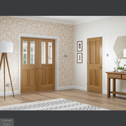 Oak Malton French Door with Clear Bevelled Glass