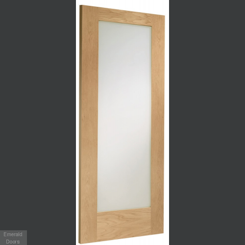 Oak Pattern 10 Sliding Door System with Fixed Panel (clear glass)