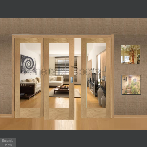 Oak Pattern 10 Sliding Door System with Fixed Panels (clear glass)