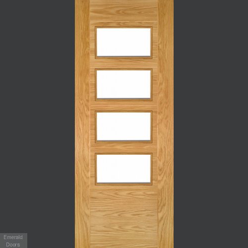 Seville Oak 4 Light Clear Glazed Internal Door