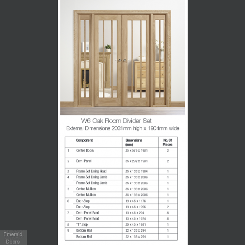 Lincoln Oak Room Divider W6