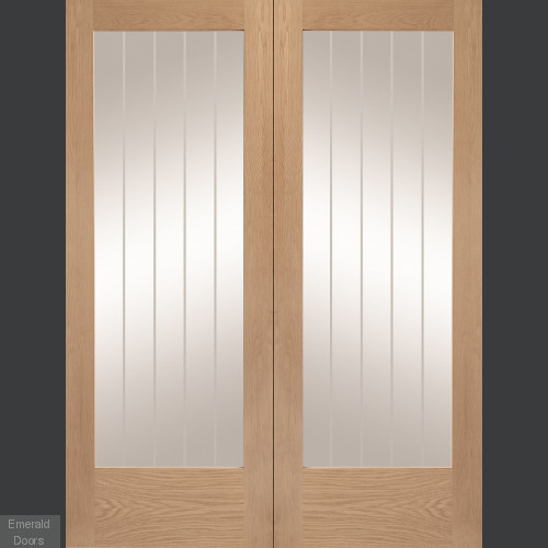 Oak Suffolk Custom Made Oak French Doors with Etched Glass