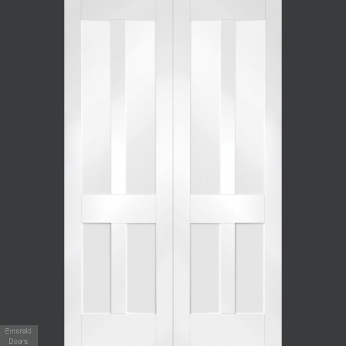 White Malton Custom Made French Doors with Clear Glass
