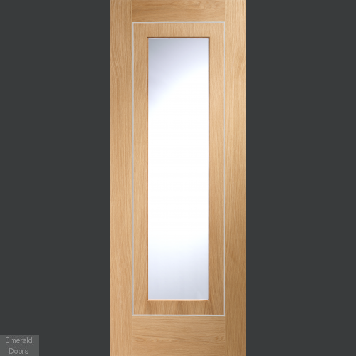 Varese Oak with Clear Glass In Roomset