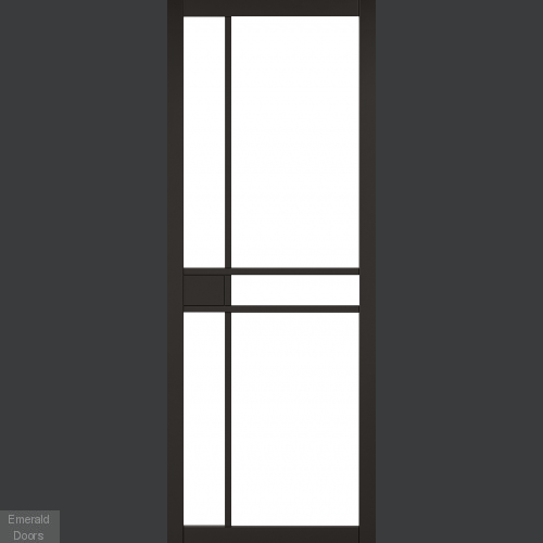 Greenwich Black Clear Glazed Double Doors with Double Sliding Track