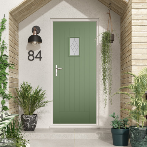 Pale Green Tricoya Double Glazed Chancery External Door