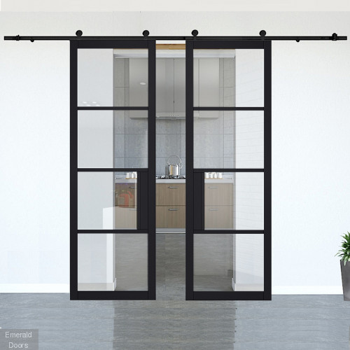 Chelsea Black Clear Glazed Double Doors with Double Sliding Track