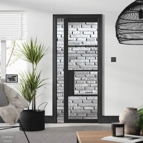 Black Chelsea 4L Clear Glazed Pocket Door Set