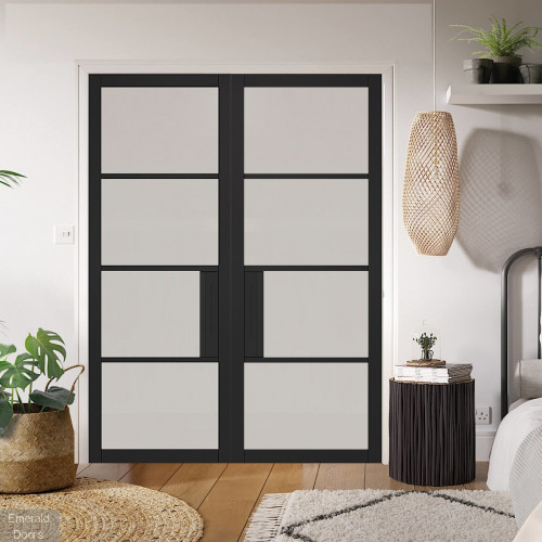 Black Chelsea 4L Clear Glazed Door Pair