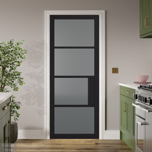 Black Chelsea 4L Internal Door with Tinted Glass