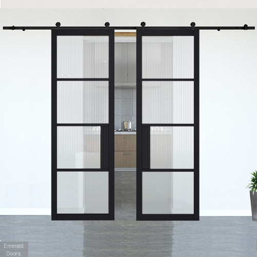Chelsea Black Reeded Glazed Double Doors with Double Sliding Track