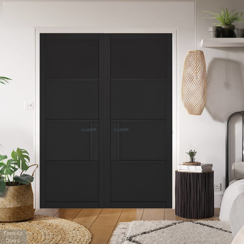 Black Chelsea 4 Panel Internal Door Pair