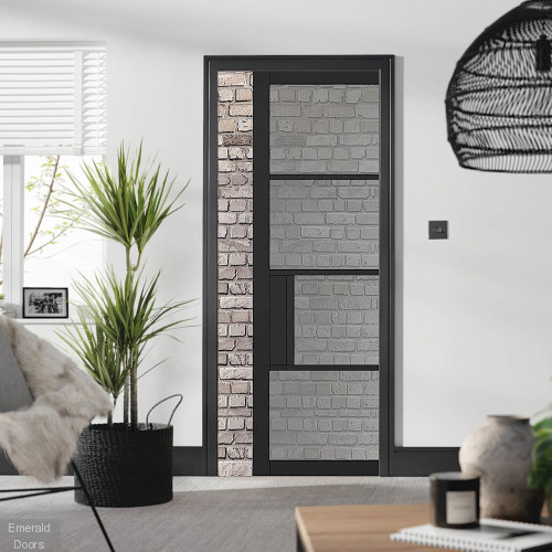 Black Chelsea 4L Tinted Glass Pocket Door