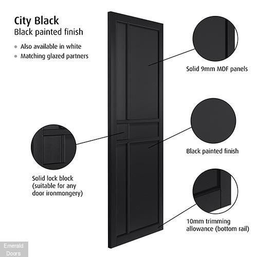 City Black Fully Finished Industrial Style Door Pair
