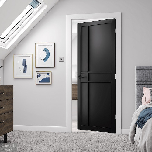 City Black Fully Finished Industrial Style Door