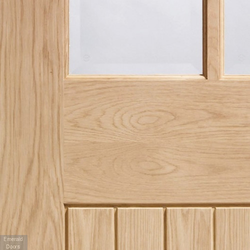 Oak Suffolk Clear Glazed Room Divider with Demi Panels