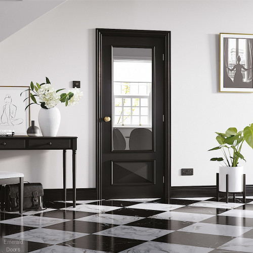 Black Knightsbridge 1L Clear Glazed Internal Door