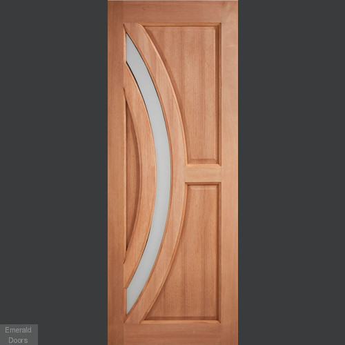 Harrow Hardwood External Door with Frosted Glass
