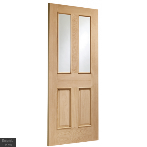 Malton With Raised Mouldings Internal Oak Door with Clear Bevelled Glass