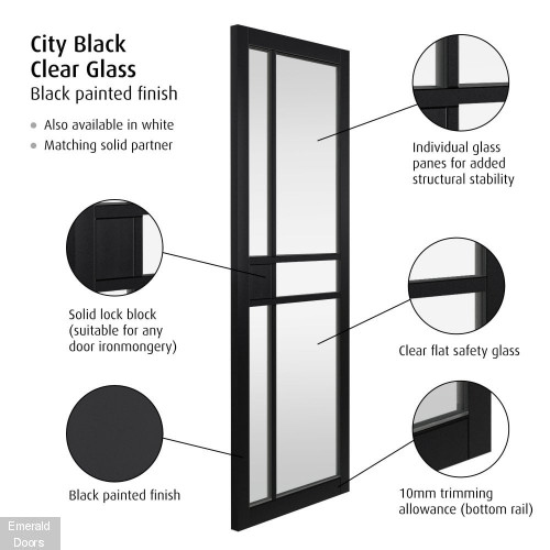 City Black Fully Finished Urban Industrial Door