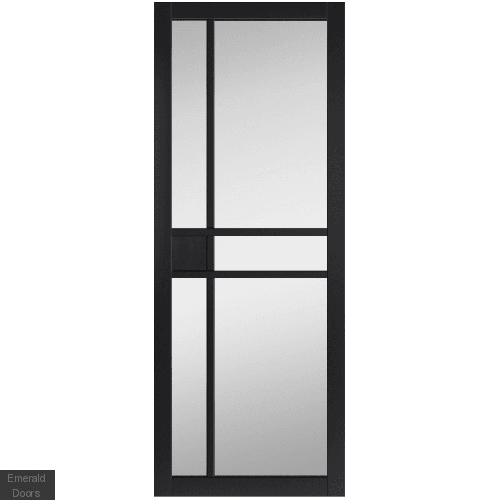City Black Glazed Fully Finished Industrial Style Door Pair