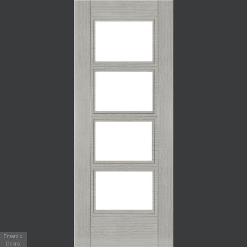 MONTREAL LIGHT GREY ASH FIRE DOOR WITH CLEAR GLASS