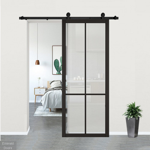 Liberty Black Clear Glazed Door with Top Hung Sliding Track