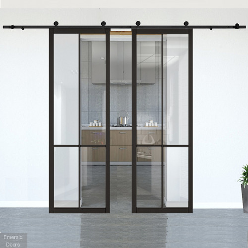 Liberty Black Clear Glazed Double Doors with Double Sliding Track
