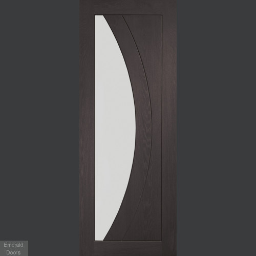 Umber Grey Laminate Salerno with Clear Glass Door