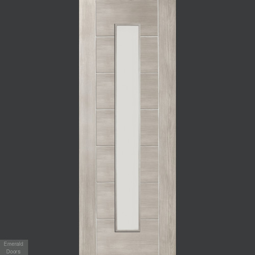 White Grey Laminate Palermo with Clear Glass Door