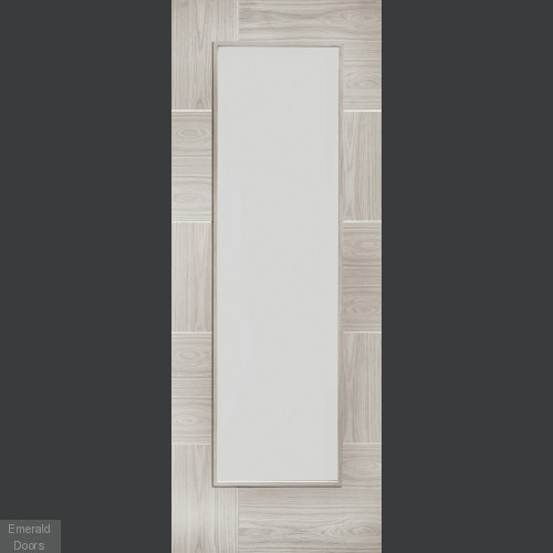 White Grey Laminate Ravenna with Clear Glass Door