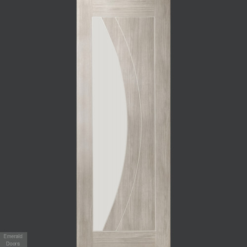 White Grey Laminate Salerno with Clear Glass Door