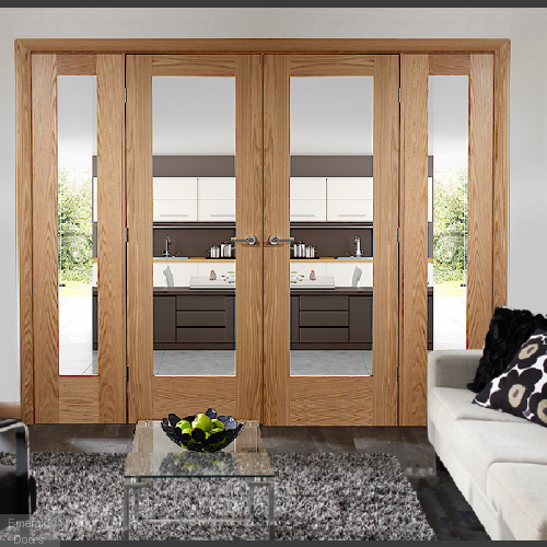 OAK PATTERN 10 CLEAR GLAZED FRENCH DOORS WITH DEMI PANELS