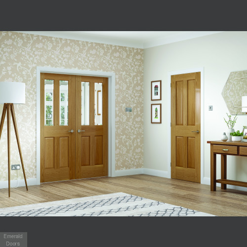 Malton Custom Made Oak French Doors with Clear Glass