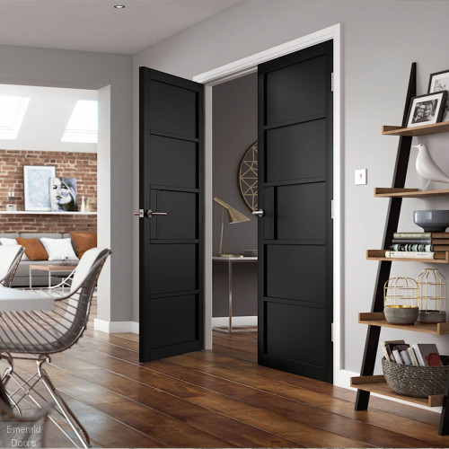 Metro Black 5P Industrial Style Door Pair Fully Finished