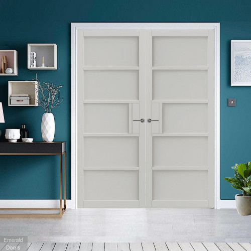 Metro White 5P Industrial Style Door Pair Fully Finished