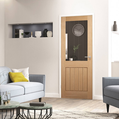 Oak Mexicano 1 Light Glazed Fire Door Clear Glass with Etched Lines