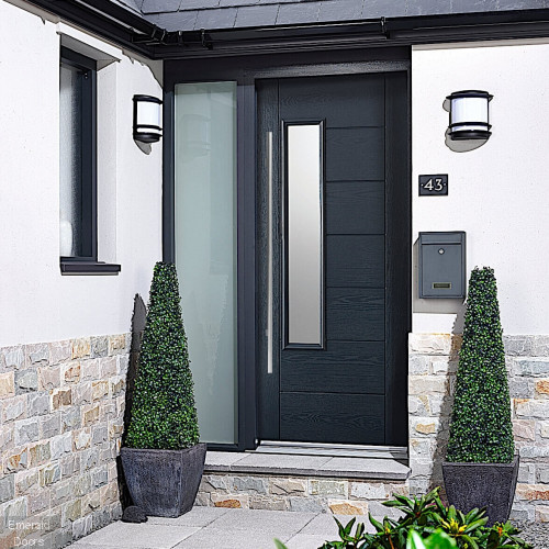 GRP Glazed Newbury Grey Composite External Door