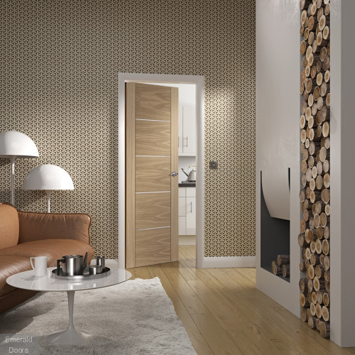 Portici Pre-Finished Oak Fire Door In Roomset Image