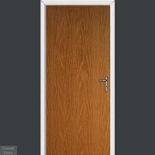 Oak Modern Flush External Fire Door Set