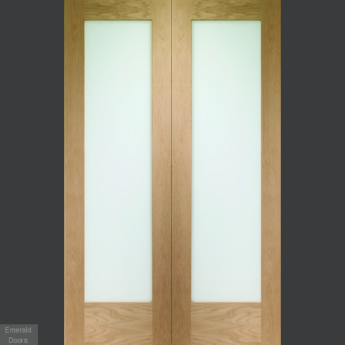 Pattern 10 Custom Made Oak French Doors with Obscure Glass