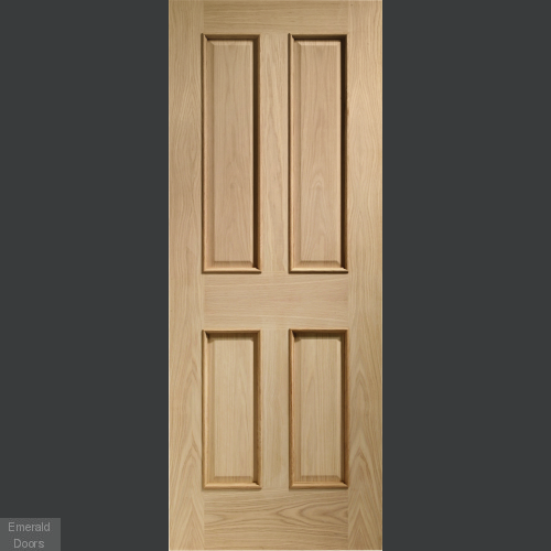 Victorian 4 Panel With Raised Mouldings Internal Oak Fire Door In Roomset